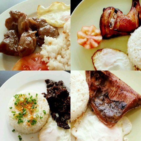 Clockwise from Top Left: Tocilog, Chiksilog, Daingsilog, Tapsilog